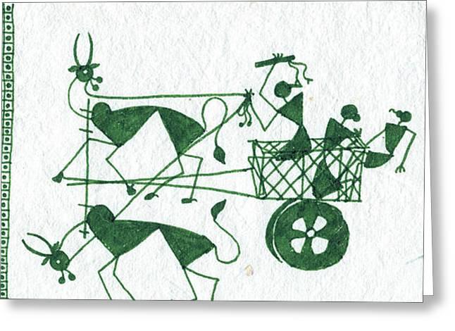 Warli Framed Prints Greeting Cards - Warli farmers in bullock cart Greeting Card by Subhash Limaye