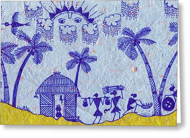 Warli Framed Prints Greeting Cards - Warli Morning Greeting Card by Subhash Limaye