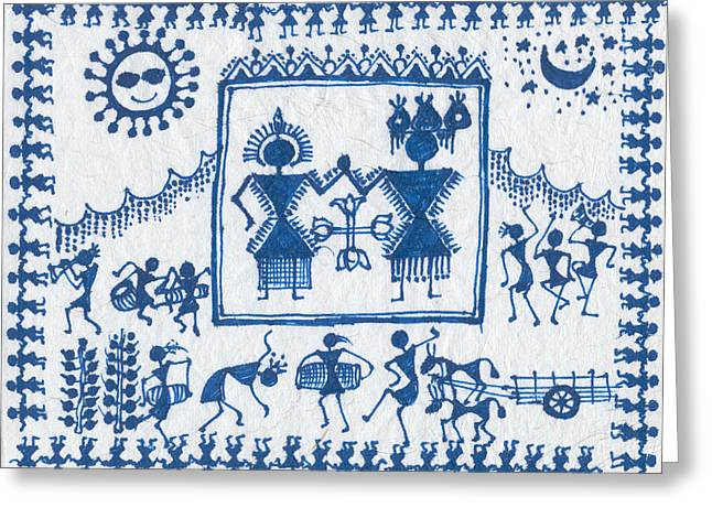 Warli Framed Prints Greeting Cards - Warli Wedding Greeting Card by Subhash Limaye