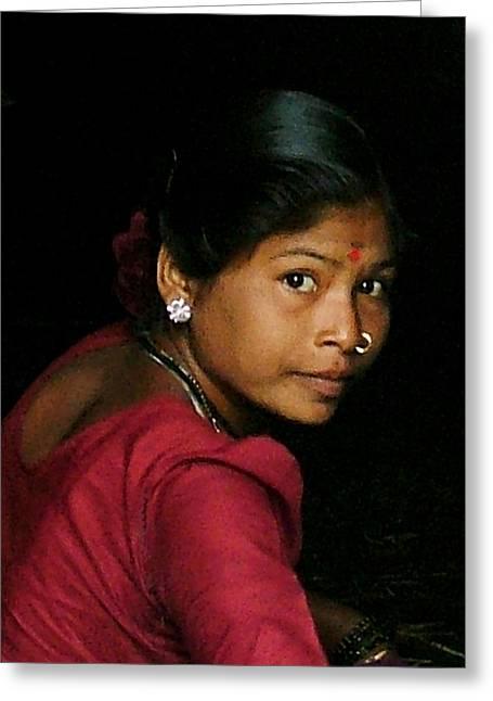 Warli Woman Greeting Card by Pramod Bansode