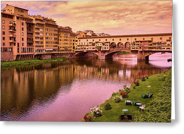 Sunset At Ponte Vecchio In Florence, Italy Greeting Card