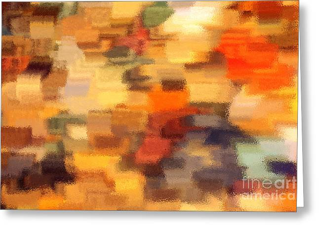 Warm Colors Under Glass - Abstract Art Greeting Card by Carol Groenen