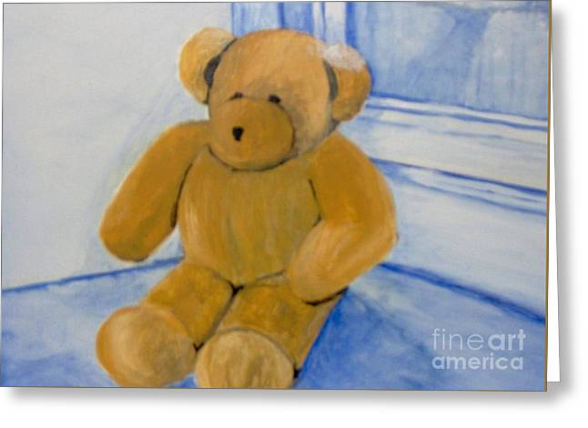 Greeting Card featuring the painting Warm Friend On A Cold Day by Saundra Johnson