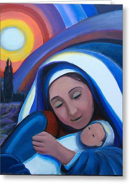 Greeting Card featuring the painting Warm Heart  by Laila Awad Jamaleldin