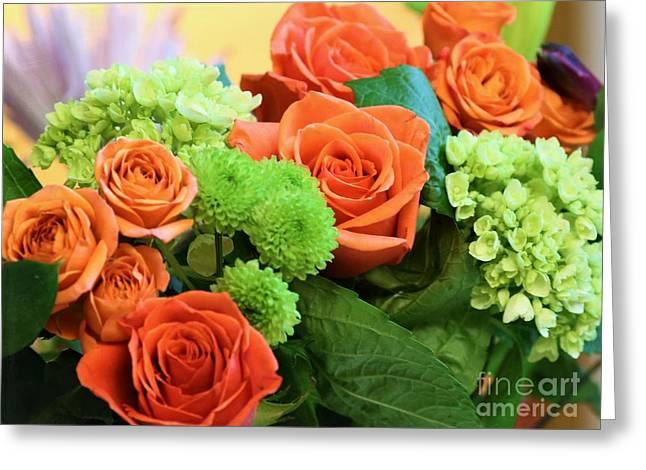 Warm Peach Rose Bouquet Greeting Card