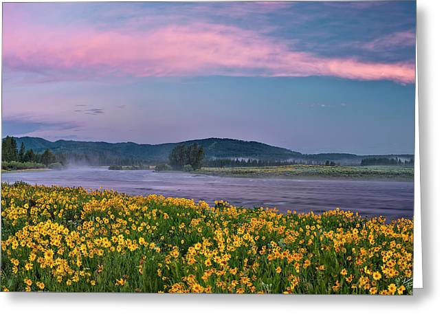 Warm River Spring Sunrise Greeting Card by Leland D Howard