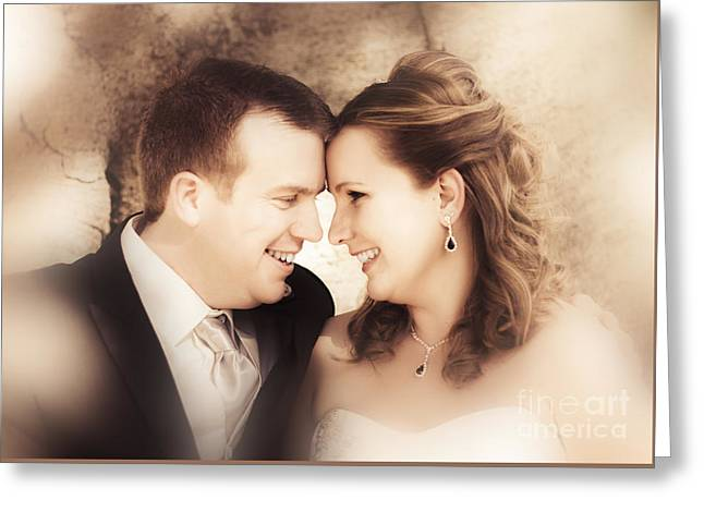 Warm Soft Focus Picture Of Romantic Wedding Couple Greeting Card by Jorgo Photography - Wall Art Gallery