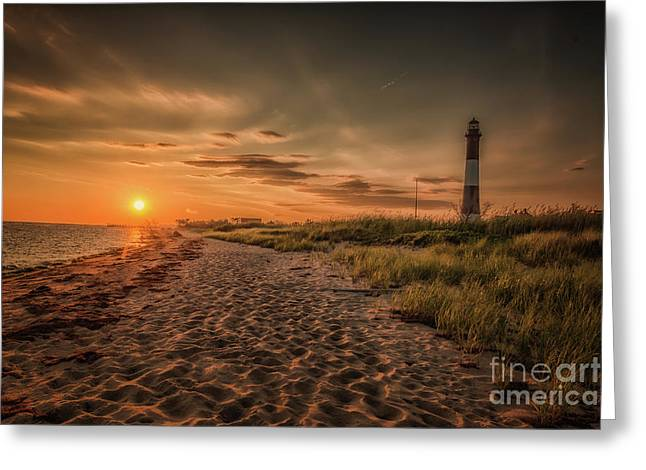 Warm Sunrise At The Fire Island Lighthouse Greeting Card