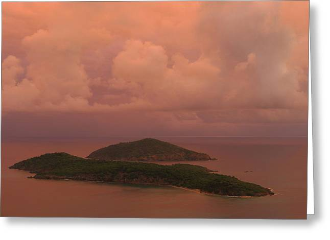 Greeting Card featuring the photograph Warm Sunset Palette Of Inner And Outer Brass Islands From St. Thomas by Jetson Nguyen