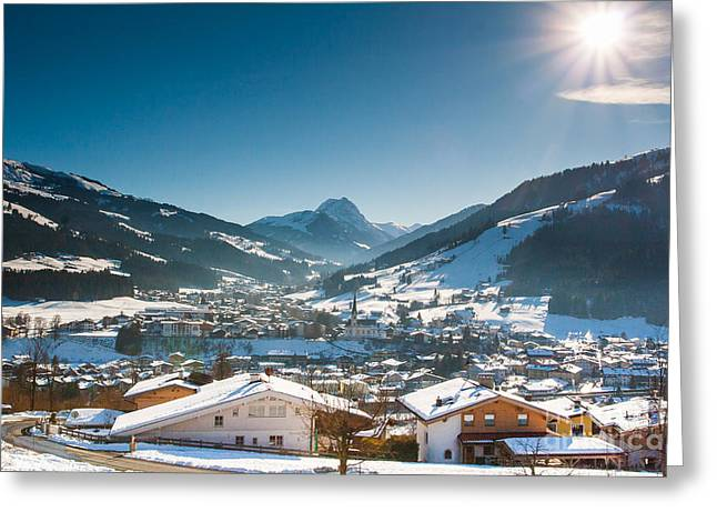 Warm Winter Day In Kirchberg Town Of Austria Greeting Card