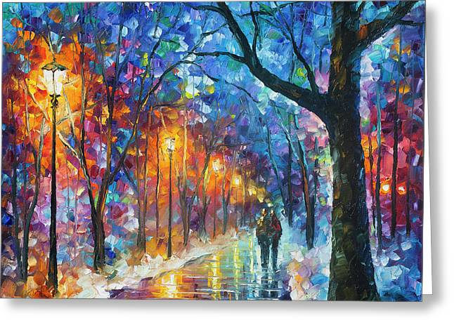 Warmed By Love Greeting Card by Leonid Afremov