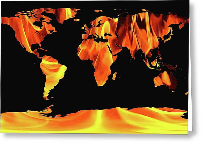 Warming World Map Greeting Card by Dan Sproul