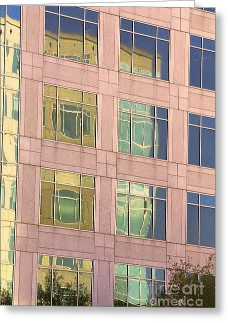 Greeting Card featuring the photograph Warped Window Reflectionss by Linda Phelps