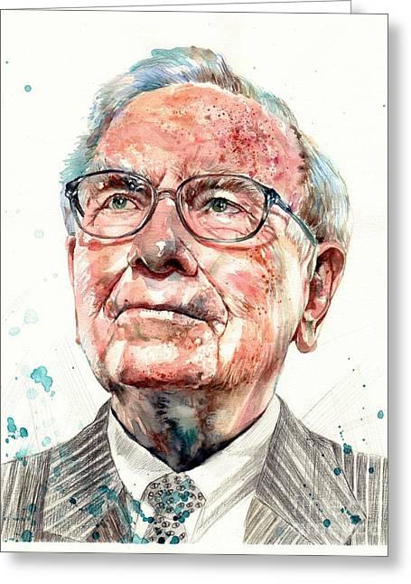 Warren Buffett Portrait Greeting Card