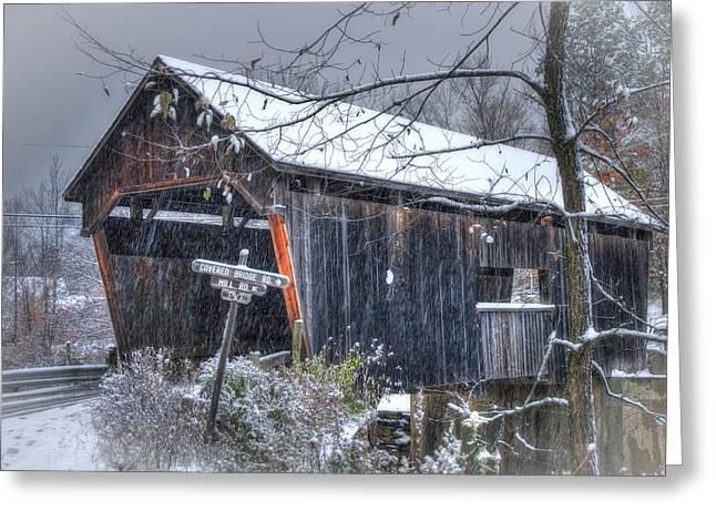 Warren Covered Bridge In Snow - Warren Vermont Greeting Card