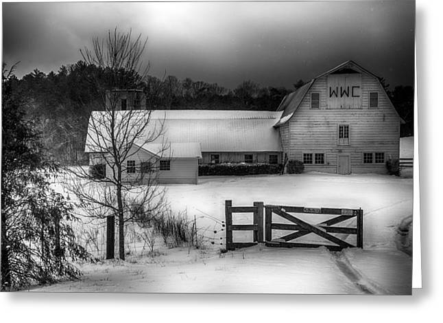 Warren Wilson College Barn In Winter Greeting Card by John Haldane