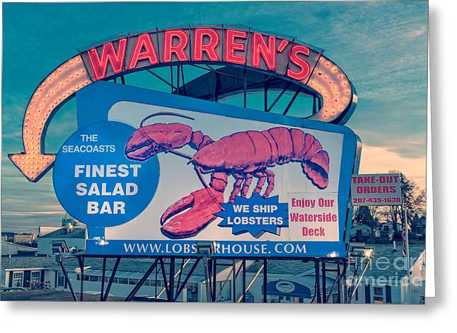 Warrens Lobster House Neon Sign Kittery Maine Greeting Card