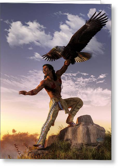 Warrior And Eagle Greeting Card