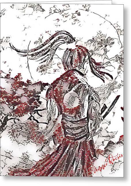 Warrior Moon Anime Greeting Card by Vennie Kocsis