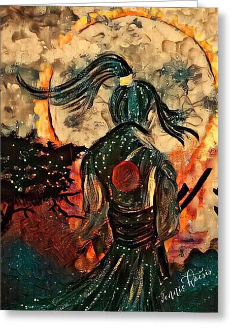 Warrior Moon Greeting Card by Vennie Kocsis
