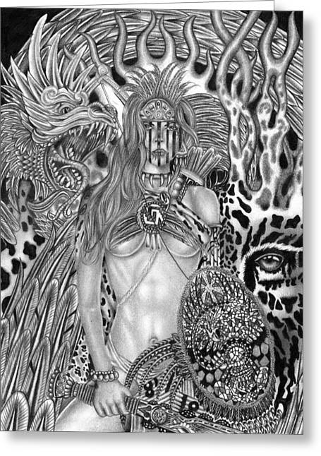 Montage Drawings Greeting Cards - Warrior Princess Greeting Card by Michael Reymann