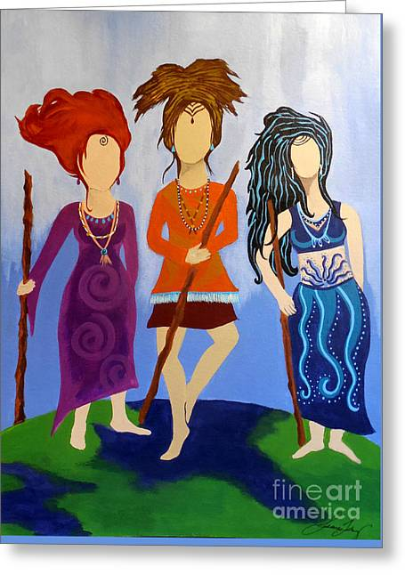 Warrior Woman Sisterhood Greeting Card by Jean Fry