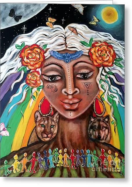 Warriors Of The Rainbow Greeting Card by Maya Telford