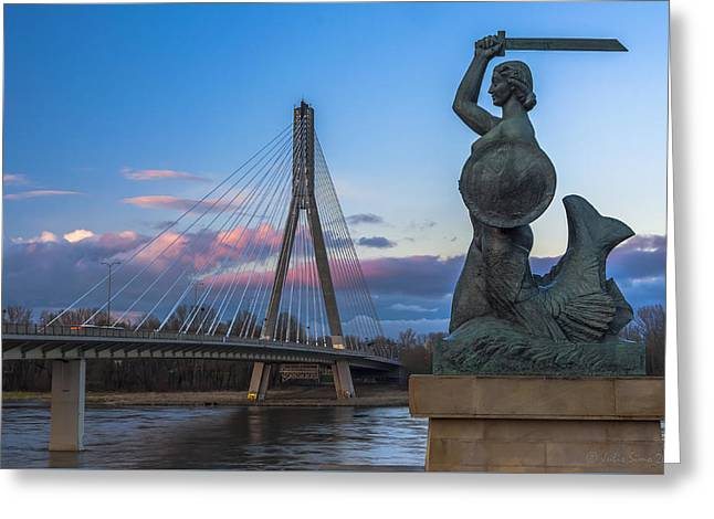 Greeting Card featuring the digital art Warsaw Mermaid And Swiatokrzyski Bridge On Vistula by Julis Simo