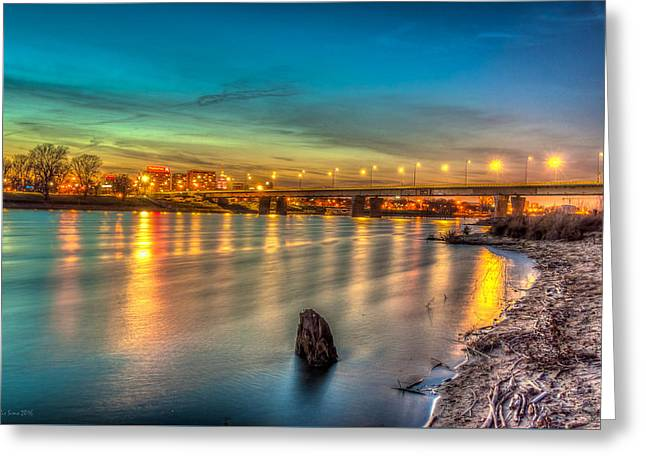 Greeting Card featuring the photograph Warsaw Reflected By Vistula River by Julis Simo