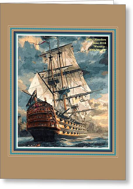 Warship - Hms Victory P A With Decorative Ornate Printed Frame. Greeting Card by Gert J Rheeders