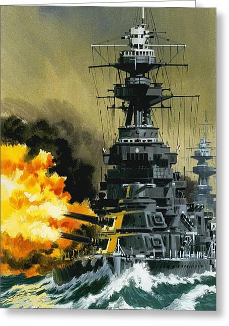Warship Greeting Card by Wilf Hardy