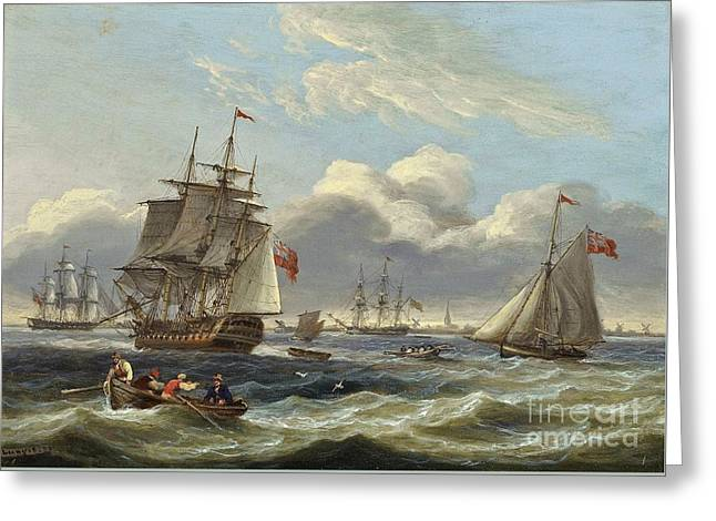 Warships And A Cutter In A Heavy Swell Off Harwich Greeting Card