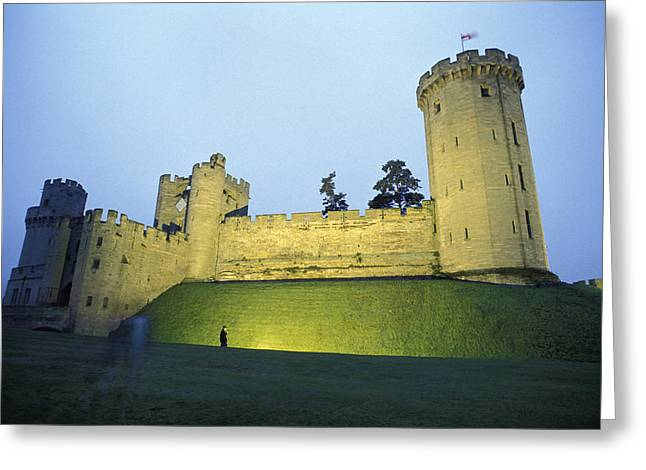 Warwick Castle At Dawn With A Man Greeting Card