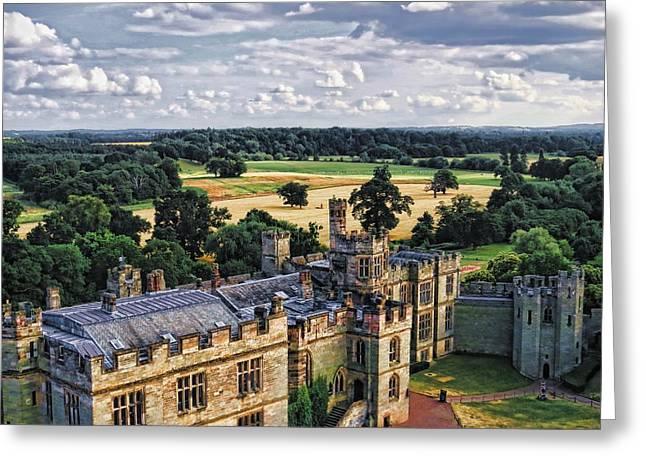 Warwick Castle Landscape Greeting Card by Ron Grafe