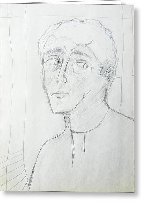 Wary Young Man--simple Sketch Greeting Card by Judith Redman