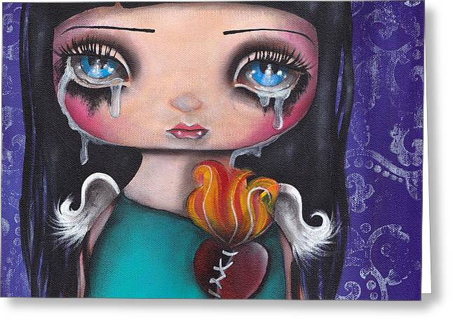 Wash Away My Tears Greeting Card by  Abril Andrade Griffith