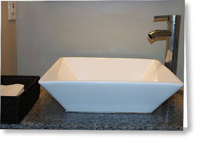 Wash Bowl And Faucet Greeting Card by Cynthia Guinn