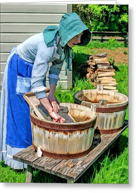 Wash Day At Old World Wisconsin Greeting Card by Christopher Arndt