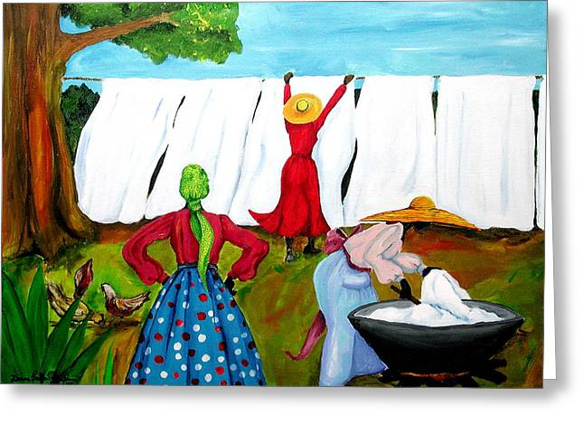 Wash Day Greeting Card by Diane Britton Dunham