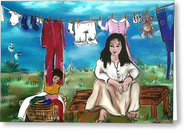 Wash Day Greeting Card by Dolores Aragon