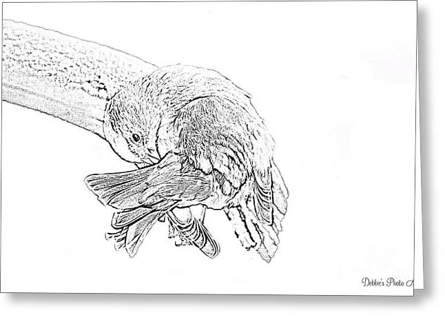 Wash Day Goldfinch, Black And White Greeting Card