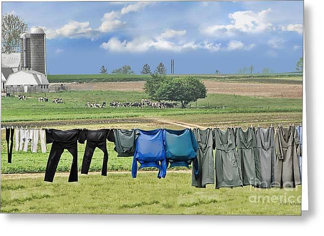 Wash Day In Amish Country Greeting Card by Dyle   Warren