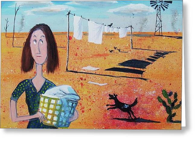 Wash Day In The Outback Greeting Card by Alan Benge