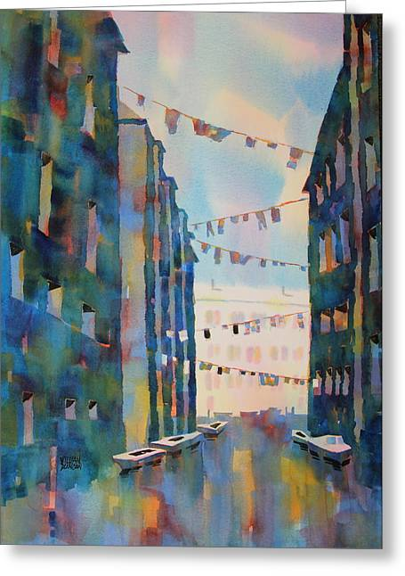 Wash Day In Venice Italy Greeting Card