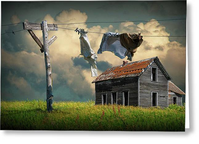 Wash On The Line By Abandoned House Greeting Card