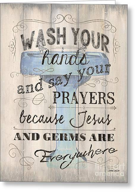 Wash Your Hands Greeting Card by Debbie DeWitt