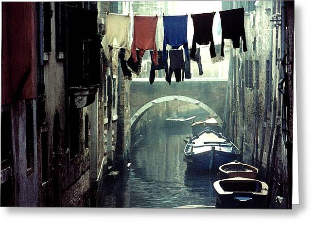 Washday In Venice Italy Greeting Card