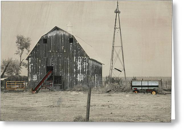 Washed Out Barn Greeting Card by Kathy M Krause