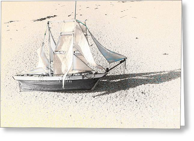 Washed Up Wooden Boat Greeting Card