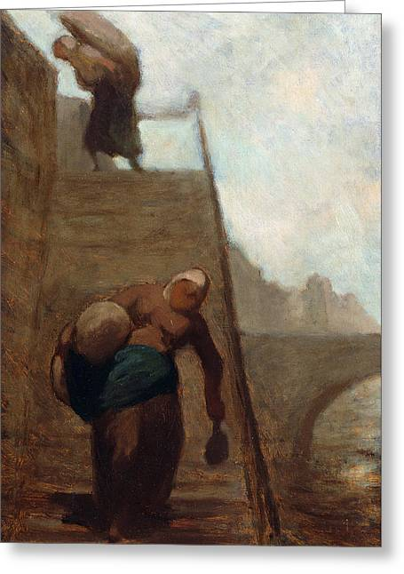 Washerwomen On The Steps Of The Quay Greeting Card by Honore Daumier
